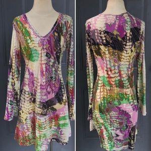 Bohemian tie dye paisley print artsy dress tunic